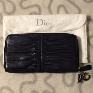 Authentic Christian Dior ruched leather zip wallet